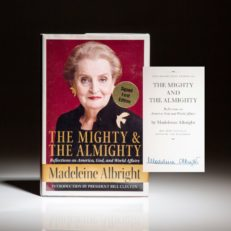 Signed first edition of The Mighty and The Almighty, signed by Madeleine Albright