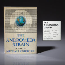 First edition of The Andromeda Strain signed by Michael Crichton.