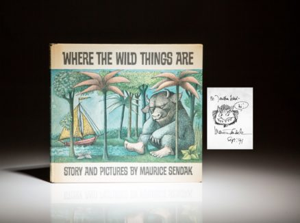First edition of Where The Wild Things Are, signed by Maurice Sendak, in first state dust jacket.