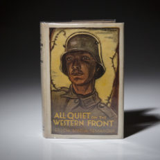 A first edition copy of All Quiet on the Western Front by Erich Maria Remarque.