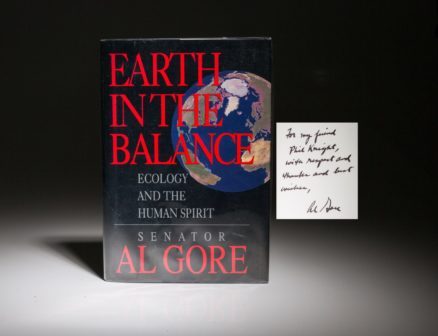 A first edition copy of Earth in the Balance by Al Gore, signed and with an inscription to Phil Knight.