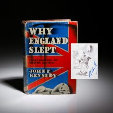 A first edition copy of Why England Slept, signed by Senator Edward Kennedy.