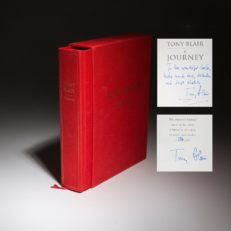 A first edition copy of A Journey, signed by the prime minister and author Tony Blair.