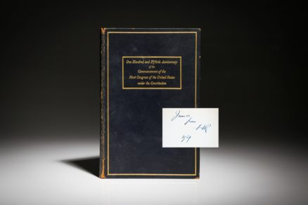 Proceedings at the Ceremony in Commemoration of the One Hundred and Fiftieth Anniversary of the Commencement of the United States Under the Constitution, inscribed by Theodore Roosevelt to his son James.