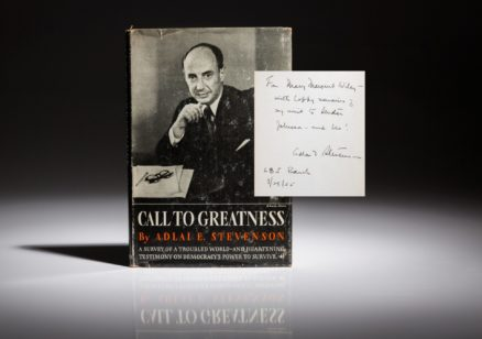 Call to greatness by Adlai Stevenson, inscribed to Jack Valenti.