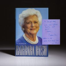 The memoirs of first lady Barbara Bush, signed by President George Bush. Memoirs of Barbara Bush, first edition.