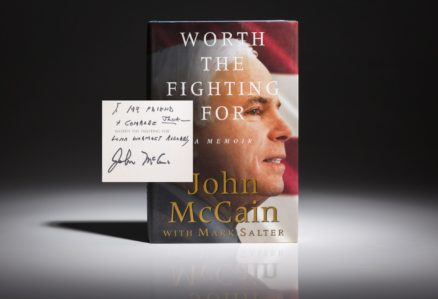 Worth the fighting For by John McCain, inscribed first edition for Jack Valenti.