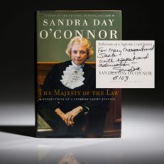 The Majesty of the Law by Sandra Day O'Conner, inscribed first edition for Jack Valenti.