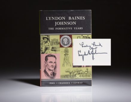 The Formative Years of Lyndon B. Johnson, signed first edition. Signed by President Johnson and Lady Bird Johnson.