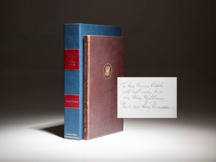 New Era In World Affairs, a signed limited edition printing, inscribed by President Harry Truman to Francis Biddle