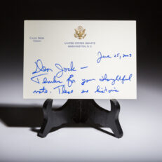 Note from Chuck Hagel to Jack Valenti.