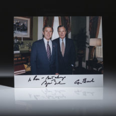 Signed Photograph of President George H.W. Bush and President George Bush.