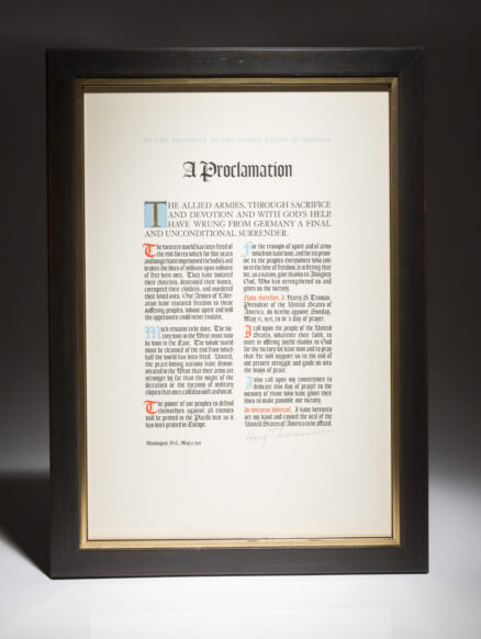 Harry Truman, A Proclamation. Signed by President Harry Truman.