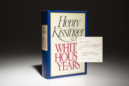 The White House Years, inscribed by Henry Kissinger to Bill Safire. First edition, first printing.