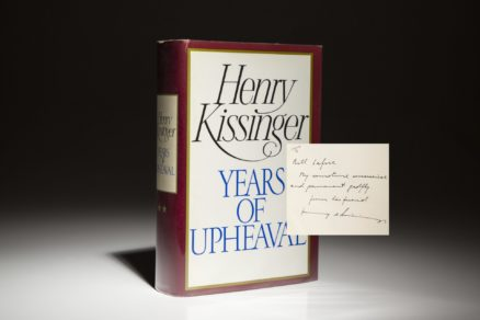 Years of Upheaval by Henry Kissinger. First Edition, first printing, inscribed to Bill Safire.