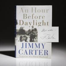 First edition, first printing of An Hour Before Daylight by Jimmy Carter. Signed first edition.