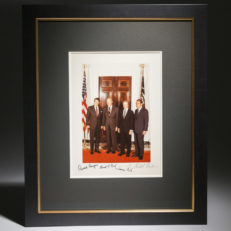 Signed photography by President Reagan, President Carter, President Nixon and President Ford, on way to Sadat Funeral.