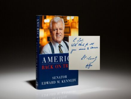 A first edition, first printing of America Back On Track, inscribed by Senator Edward Kennedy to his brother's Secretary of Defense, Robert McNamara.