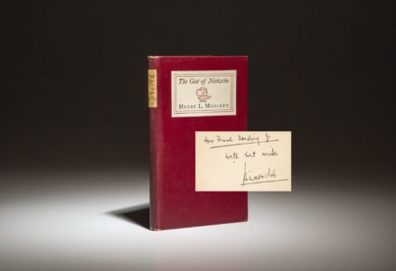 First edition of The Gist of Nietzsche by Henry L. Mencken, inscribed by the author.