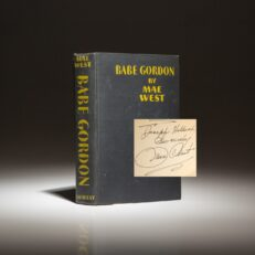 Inscribed first edition, second printing of Babe Gordon by Mae West.