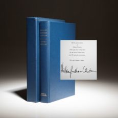 The signed limited edition of Living History by Hillary Clinton, from the publishers presentation copies.