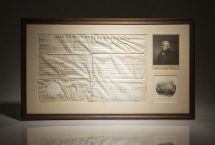 Land grant signed by President John Quincy Adams for Mr. James Wilkinson of Delaware, Ohio.