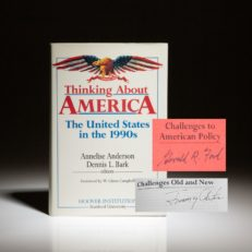 First edition of Thinking About America, signed by President Jimmy Carter on his article and Gerald R. Ford on laid-in copy of his chapter of the book