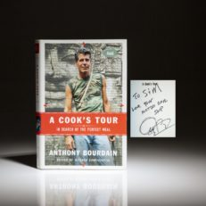 Inscribed copy of A Cook's Tour by Anthony Bourdain, a first edition, first printing.