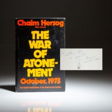 The War of Atonement by Major General Chaim Herzog, inscribed to William Safire.