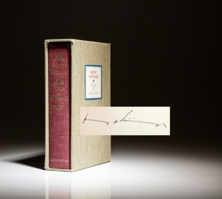 Limited edition of Henry Kissingers Year's of Upheaval, signed by Henry Kissinger.