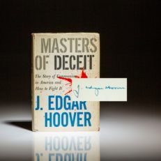 Signed first edition, second printing of Masters of Deceit by J. Edgar Hoover.