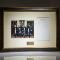 Framed photograph of 10 former National Security Advisors. Meeting took place at the Blair House in Washington, DC on December 3rd, 2007