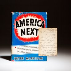 First edition of America Next by Peter Markham [Alfred Bergman], inscribed to a classmate.
