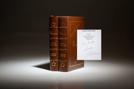An inscribed copy of Eisenhower by Stephen E. Ambrose, for New York Times columnist, William Safire.