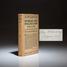 First edition of Hurrah and Hallelujah by J.P. Bang, signed by future Vice President Alben Barkley.