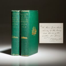 First edition of Charles B. Boynton's History of the Navy During The Rebellion, inscribed to Secretary of the Navy, Gideon Welles.