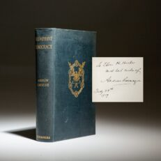 Signed copy of Triumphant Democracy by Andrew Carnegie.