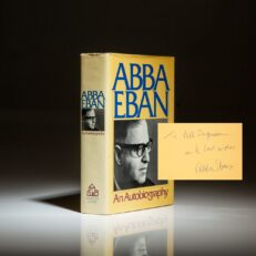 Signed first edition of An Autobiography by Abba Eban.