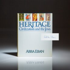 Signed first edition of Heritage: Civilization and the Jews by Abba Eban.