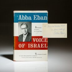 First edition of Voice of Israel by Abba Eban, dedicated to Senator J. Lister Hill.