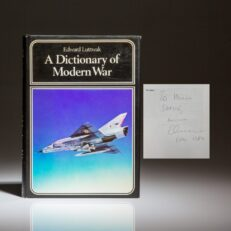 First edition of A Dictionary Of Modern War by Edward Luttwak, inscribed to New York Times columnist, William Safire.