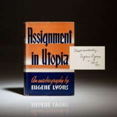 Signed first edition of Assignment in Utopia by Eugene Lyons.