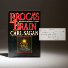 First edition of Broca's Brain by astronomer Carl Sagan, inscribed to Cornell President Frank H.T. Rhodes.