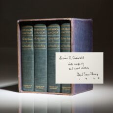 First edition of Abraham Lincoln: The War Years, inscribed by Carl Sandburg to American artist, Lucius Crowell.