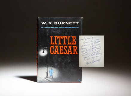 Signed copy of Little Caesar by W.R. Burnett, inscribed to screenwriter and Hollywood press agent, Jimmy Starr.