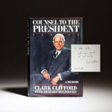 Signed first edition of Counsel To The President by Clark Clifford and Richard Holbrooke, inscribed to Helen K. Copley of Copley Newspapers.