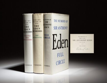 First printings of the The Eden Memoirs, signed by Prime Minister Anthony Eden in Volume I.