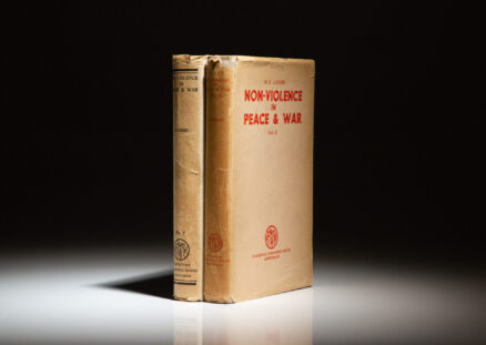 Non-Violence in Peace & War by Mahatma K. Gandhi, the third edition of Volume I and first edition of Volume II, both volumes in scarce dust jackets.