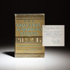 The Odyssey: A Modern Sequel by Nikos Kazantzakis, inscribed by Kimon Friar to Judge Robert S. Marx of Cincinnati.