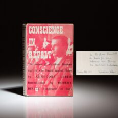 Signed first edition of Conscience in Revolt by Annedore Leber, a journalist and wife of an anti-Nazi resistance leader who was executed in 1945.